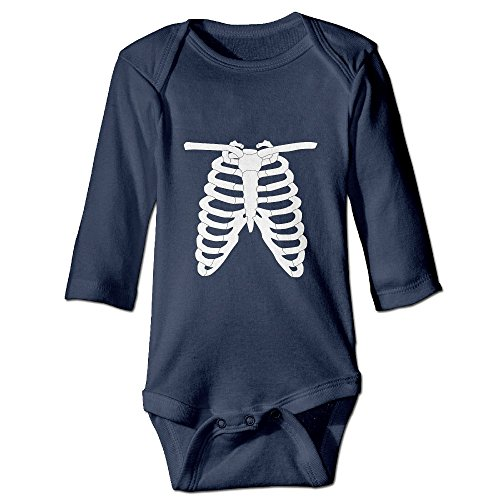 Creeper Costume Template (Skeleton Rib Cage Funny 100% Cotton Long Sleeve Bodysuits Rompers Outfits For Unisex Infant)