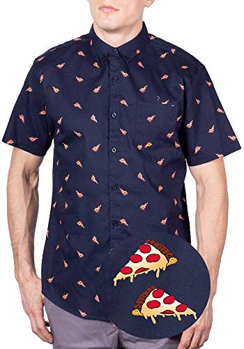 Visive Hawaiian Shirts for Men Big and Tall Button Up Shirts Short Sleeve Pizza 3XL