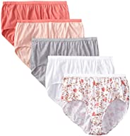 Just My Size Women's 5 Pack Cotton Brief Color Panty, Assor