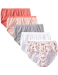 Just My Size Women's 5 Pack Cotton Brief Assorted Color Panty