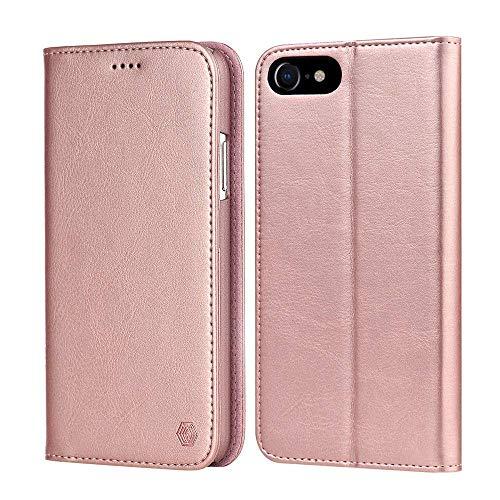 iPhone 8 ケース iPhone7ケース 手帳型 スマホ ケース アイフォン 8 ケース 高級PUレザー 財布型 カード収納 スタンド機能 マグネット式 人気 おしゃれ 全面保護カバー (iPhone 7/8, 4.7インチ ピンク)