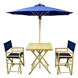 Zew Handmade 4-Piece Bamboo Outdoor Patio Set Includes Square Table, 2 Canvas Chairs and 1 Umbrella, Indigo For Sale