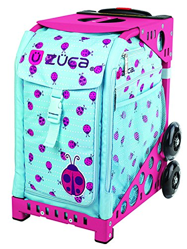 ZUCA Ladybugz roller bag with a pink flashing frame