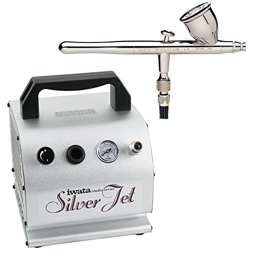 (Iwata Revolution (R 4500) CR Airbrush with IS-50 Silver Jet Air Compressor )
