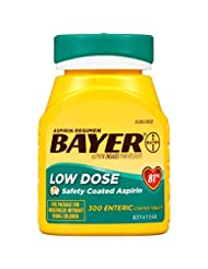 Bayer Aspirin Regimen, Low Dose (81 mg), Enteric Coated, 300 ...