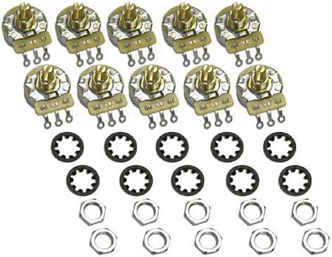 10 Bulk Pack Genuine CTS Tone / Volume 250K Split Shaft Audio Taper Pots for Fender Strat 51mSu8f2zTL