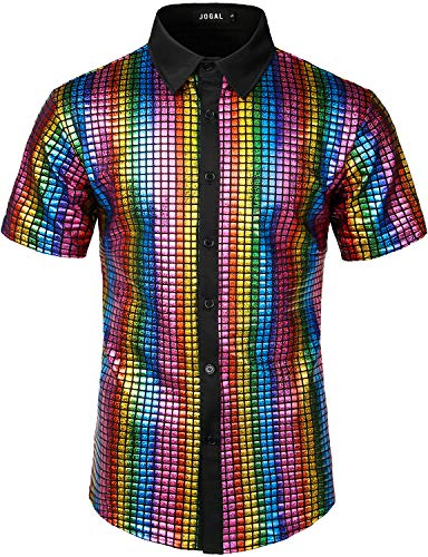 JOGAL Men's Dress Shirt Sequins Button Down Shirts 70s Disco Party Costume XX-Large A353 Multicoloured