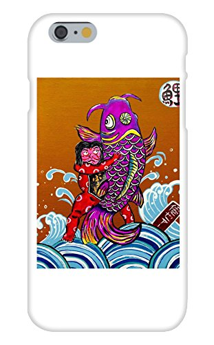 Obama Phone Costume (Man Wrestling Koi Fish Mural Yuya Negishi YUYART - Apple iPhone 6 Custom Case White Plastic Snap On)