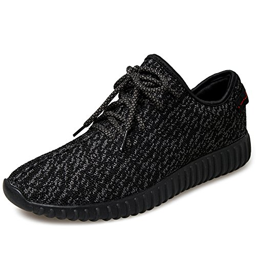 JACKSHIBO Men Women Unisex Couple Casual Fashion Sneakers Breathable Athletic Sports Shoes, Black,Women 7(M)US 39EU/Men 7.5(M)US 39EU