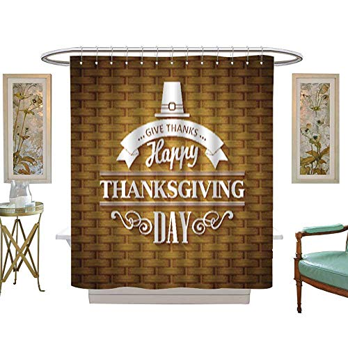 Iuvolux Shower Curtain CollectionThanksgiving Typography Greeting Card Wicker Basket Texture Vector illustration1. Home Art Paintings Pictures Decorations W72 x H72 Inch