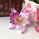 OKOKMALL US--2 Pcs Butterfly Orchid Flower Hair Clip Bridal Wedding Prom Party Barrette Pin