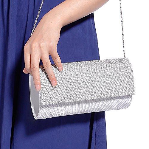Bolso de Mano Satén para Mujer con Diseño Plisado con Detalle de Diamantes Clutch con Cadena blanco