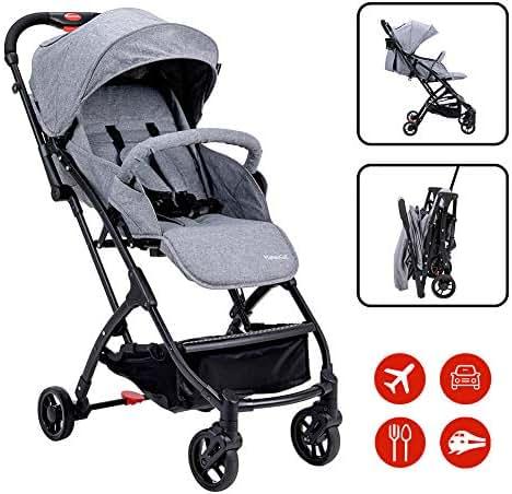 Lightweight Baby Stroller for Toddler Travel, Portable Airplane Travel Carry On Strollers,Folding Umbrella Pram (Grey)