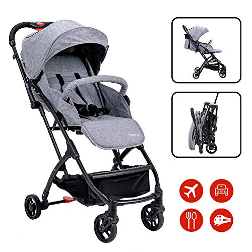 Lightweight Baby Stroller for Toddler Travel, Portable Airplane Travel Carry On Strollers,Folding Umbrella Pram (Gray)