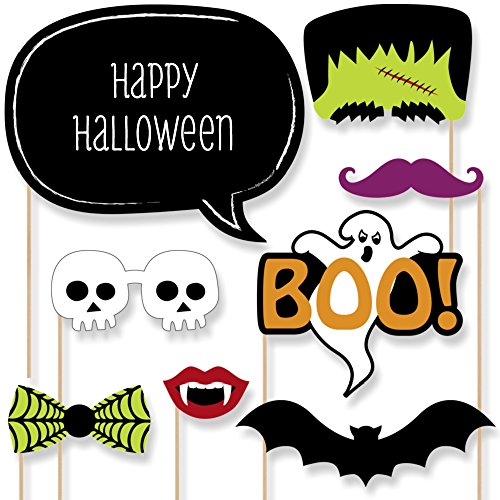 Big Dot of Happiness Custom Trick or Treat - Halloween Party Photo Booth Props Kit - Personalized Halloween Party Supplies - 20 Selfie Props