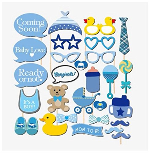 29PCS Baby BOY 1St Shower Party Baby Bottle Masks Photo Booth Props On A Stick Favor FOR A BOY -