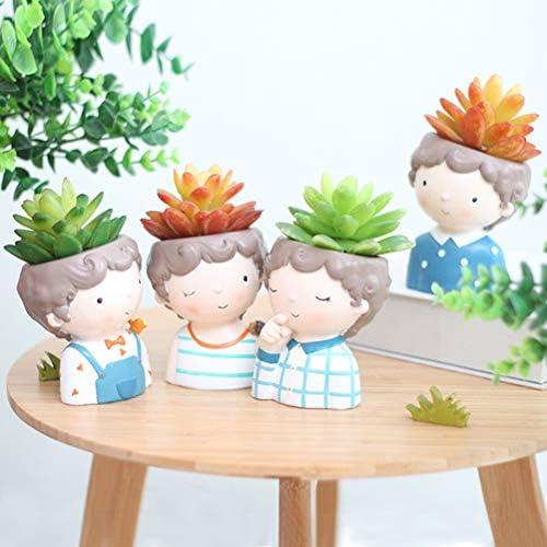 4x Adorabile Design BOY MINI succulente fioriera per piante Vaso di Fiori regalo creativo