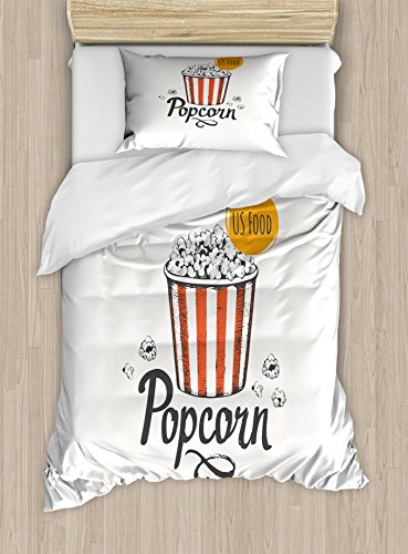 Ambesonne Movie Theater Twin Size Duvet Cover Set, Sketch Design Cinema Snack US Fast Food Pop Corn Art, Decorative 2 Piece Bedding Set with 1 Pillow Sham, Charcoal Grey Vermilion Marigold by Ambesonne