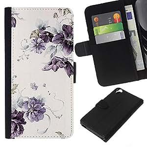 Planetar® Modelo colorido cuero carpeta tirón caso cubierta piel Holster Funda protección Para HTC Desire 820 ( Lilac Purple Wallpaper Vintage rústico)