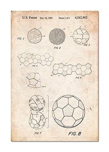 Póster de balón de fútbol 1985Patent, Antiguo, Pergamino vintage