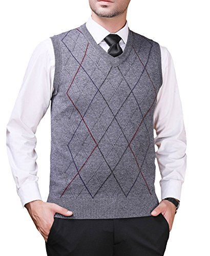 Zicac Men's Pullover Sweater Vest V-Neck Knitted Waistcoat Argyle Sleeveless Sweater Business Knitwear (XL, Gray)