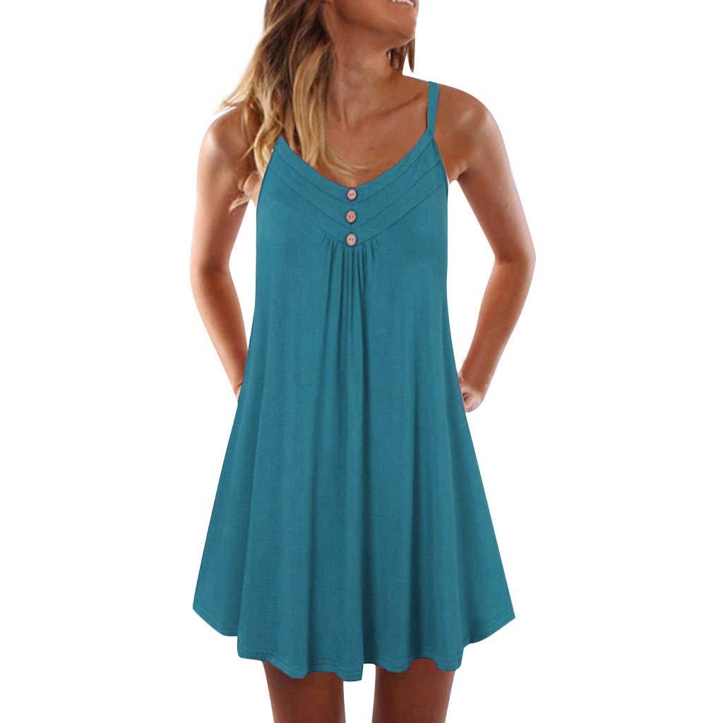 Winsummer Button Tank Dress Women's Summer Sleeveless Casual Loose Swing T-Shirt Dress Green