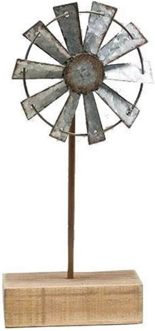 Weathered Windmill Finial | 9.5 inch with 4 inch Metal Windmill