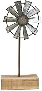 Weathered Windmill Finial | 8.5 inch with 3.5 inch Metal Windmill