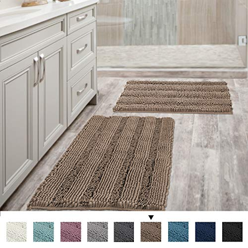 Extra Thick Chenille Striped Pattern Bath Rugs for Bathroom Non Slip - Soft Plush Shaggy Bath Mats for Bathroom Floor, Indoor Mats Rugs for Entryway (Taupe Brown, 32 x 20 plus 24 x 17 - Inches) (Small Bath And Rugs Mats)