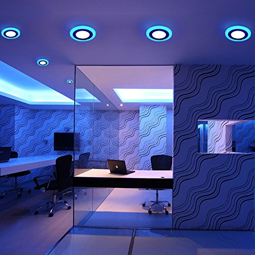 (2 Pack) Led Panel Light,BOLXZHU Led Ceiling Lights Round Double Color (Cool White+Blue),Ultrathin Led Recessed Lighting,(6+3) W Outer Diameter:150MM,Hole Size:110MM,6000-6500K,Led Downlights by BOLXZHU (Image #6)