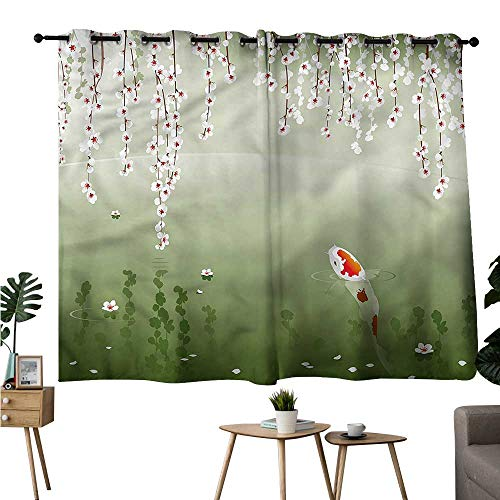 (Alexandear top Darkening Curtains Grommet Curtain for Living Room Koi Fish,Weeping Flowers Blossom Set of 2 Panels W55 x L63)