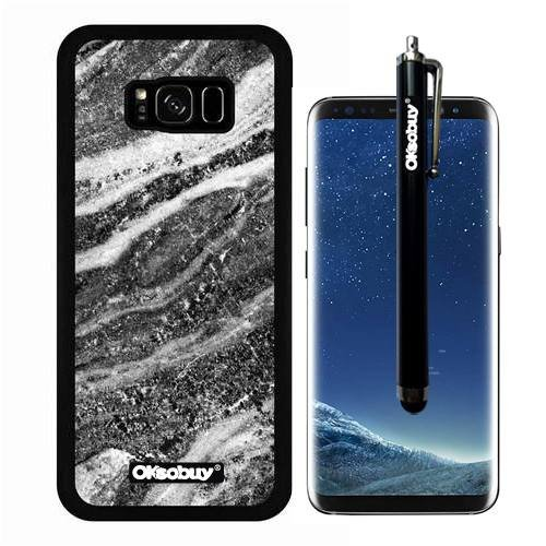 Galaxy S8 Plus Case, White Interlaced Twill Marble Texture Case, OkSoBuy Ultra Thin Soft Silicone Case for Samsung Galaxy S8 Plus - White Interlaced Twill Marble - Dark Hard Medium Green