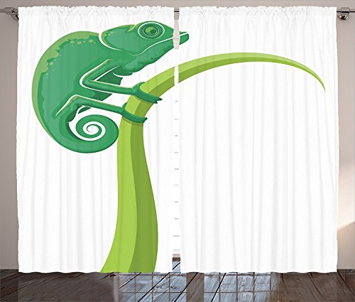 [Reptile Decor Curtains Exotic Grumpy Lizard Holding Onto Grass With Curled Tail Jungle Cartoon Camouflage Home Living Room Bedroom Decor 2 Panel Set Green White,Size:2 x 27.50