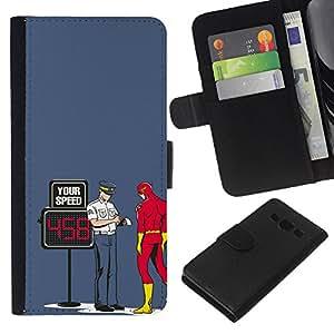 JackGot ( Divertido Perno Superhero flash ) Samsung Galaxy A3 la tarjeta de Crédito Slots PU Funda de cuero Monedero caso cubierta de piel