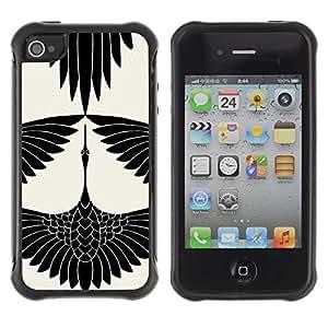 Paccase / Suave TPU GEL Caso Carcasa de Protección Funda para - Stork Art Drawing Ink White - Apple Iphone 4 / 4S