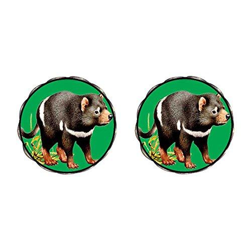 (GiftJewelryShop Bronze Retro Style Tasmanian Devil Photo Clip On Earrings Flower Earrings 12mm Diameter)