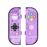 BASSTOP Translucent NS Joycon Handheld Controller Housing With D-Pad Button DIY Replacement Shell Case for Nintendo Switch Joy-Con (L/R) Without Electronics (Joycon D-Pad-Atomic Purple)