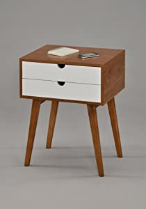 """Dark Oak / White Side End Table Nighstand with Two Drawer 24""""H - Mid-Century Style"""