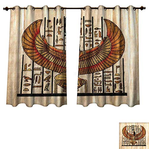 (Egyptian Blackout Thermal Backed Curtains for Living Room Ancient Religion Historical Art Egyptian Parchment Texture Background Customized Curtains Ivory Gold and Black W72 x L63 inch)