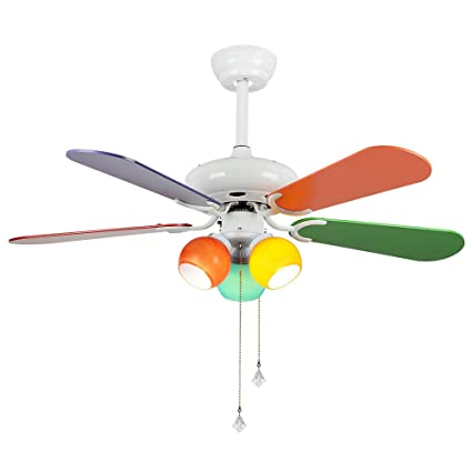 RainierLight Colourful Cartoon Kid Ceiling Fan 5 Wood Blades Remote Control  Protect Eyesight Mute For Bedroom