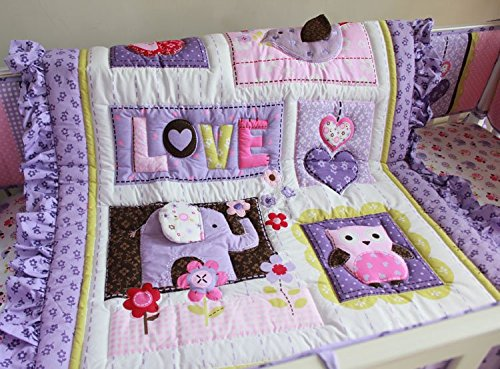 NAUGHTYBOSS Girl Baby Bedding Set Cotton 3D Embroidery Elephant Owl Quilt Bumper Bedskirt Fitted Blanket 8 Pieces Set Purple Color