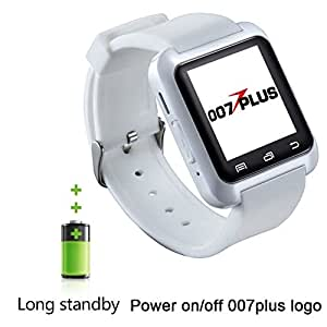 U80 U8 Smart Watch, 007plus Bluetooth 4.0 Smart Wrist Wrap Fitness Watch Phone for Smartphone Android Samsung S2/S3/S4/S5/S6Note 2/Note 3/Note 4/HTC Part Function for iPhone (U80 White)