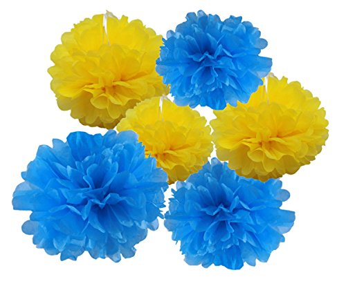 HEARTFEEL 6pcs Tissue Paper Pom Poms Flower Ball Hanging Pom for Wedding Party Outdoor Decoration Bridal Shower Party Baby Shower (Turquoise and (Yellow And Turquoise Wedding)