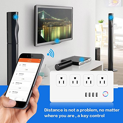 Power Strip Socket DIWUER WiFi Smart Multi Outlets with 4 Plug 4 USB Ports Work with Amazon Alexa Surge Protector Timer Remote Control by iPhone and Android Phone by DIWUER (Image #2)