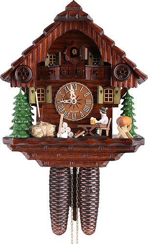 (German Cuckoo Clock 8-day-movement Chalet-Style 12.00 inch - Authentic black forest cuckoo clock by Hekas )