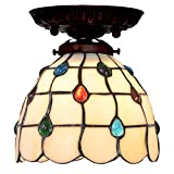 Bieye Tiffany Style Stained Glass Jewels Semi Flush Mount Ceiling Fixture with 7 inches Handmade Lampshade - Suitable for Decorating Room (Multi-Colored Jewels)