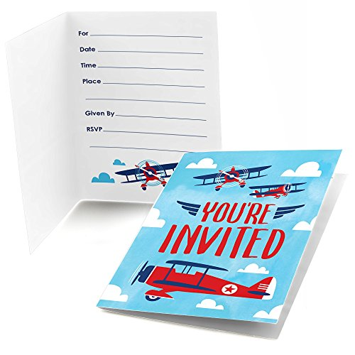 Big Dot of Happiness Taking Flight - Airplane - Fill In Vintage Plane Baby Shower or Birthday Party Invitations (8 count) - Airplane Birthday Invitation