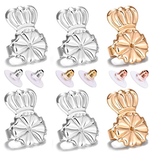 Magic Earring Lifters and Earring Backs Pack - 3 Pairs of Hypoallergenic Adjustable Earring Lifts and Earring Bullets Backs - Perfect for Drooping Earrings (2 Silve/1 Peach Gold)