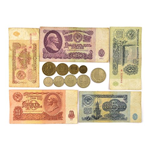 Hobby of Kings USSR FULL SET 9 SOVIET RUSSIAN COINS KOPECKS + 5 RUBLE BANKNOTES 1961 COLLECTION