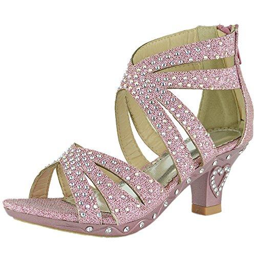 Kids Dress Sandals Rhinestone Glitter Cutout High Heel Pageant Shoes Pink 4